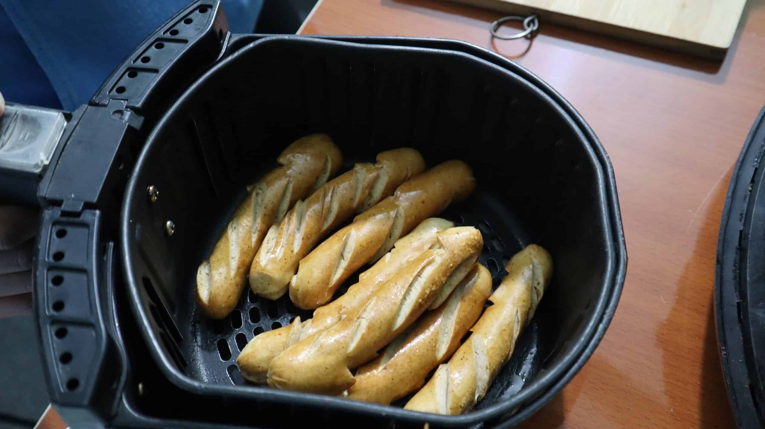 cooked sausage in air fryer