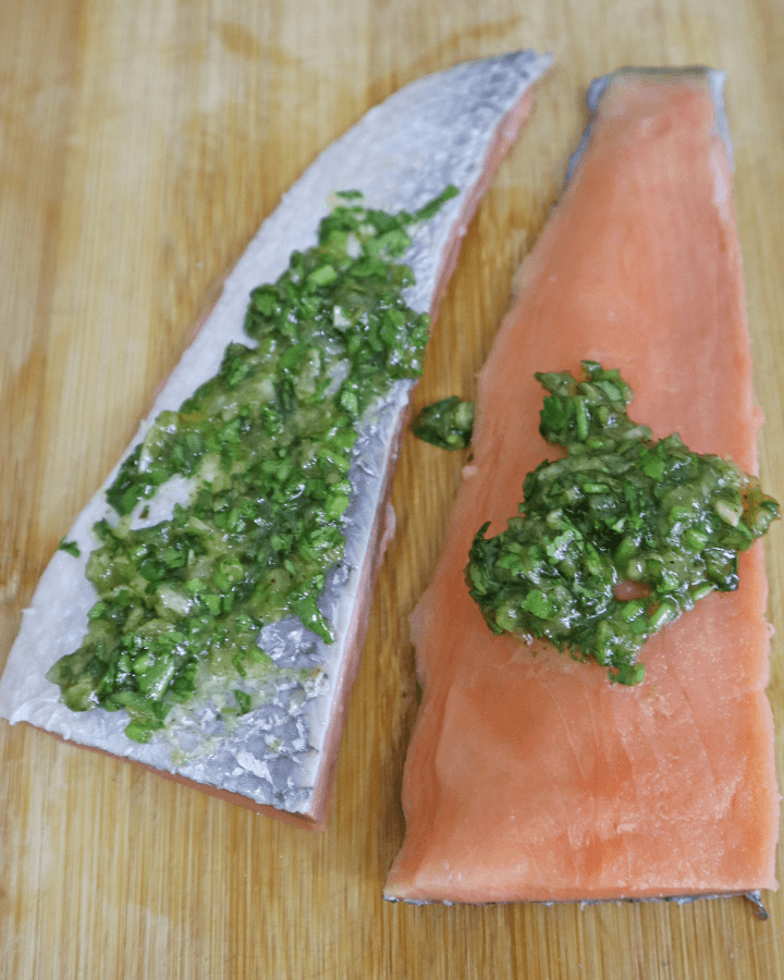 Air fryer salmon with skin