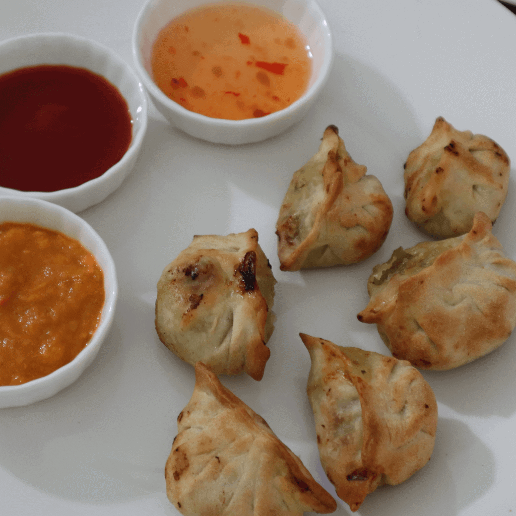 dumplings with dipping sauce