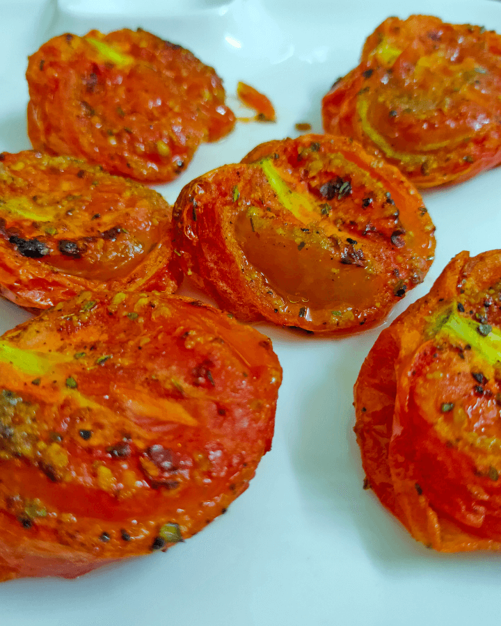 roasted tomatoes in an air fryer