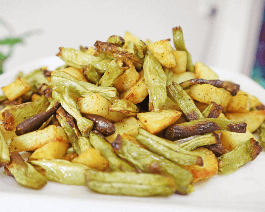 Potato and Green beans in air fryer